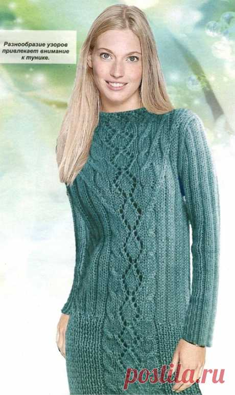 Tunic openwork pattern description. Knitting of a tunic spokes for beginners |