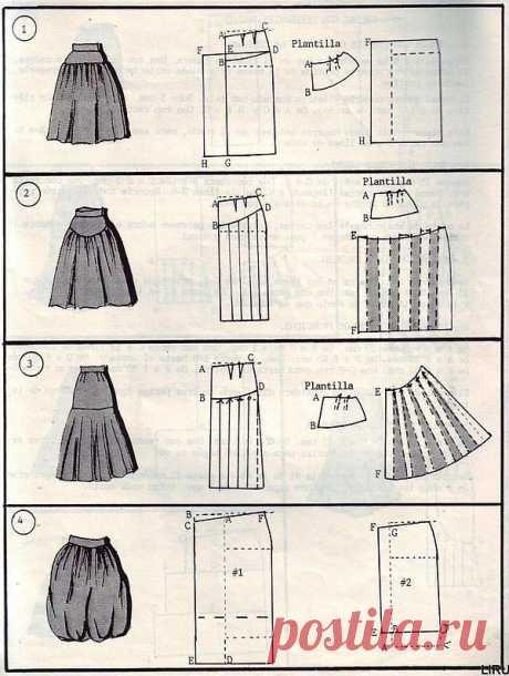 Моделирование юбок (подборка) / Простые выкройки /