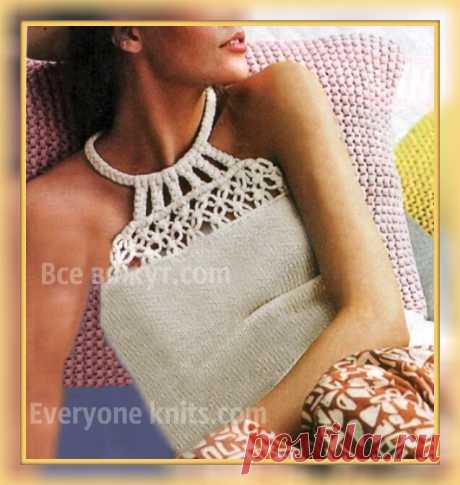 Топ двумя техниками - спицами и макраме. Мастер-класс с описанием вязания и схемами. | Все вяжут.сом/Everyone knits.com |