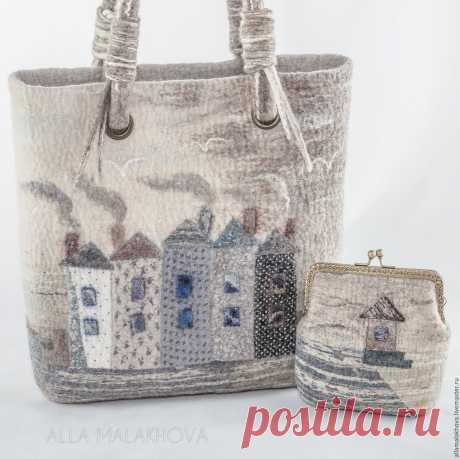 Купить Валяная сумка Войлочная Пуговка - белый, сумка, валяная сумка, женская сумка, Валяние