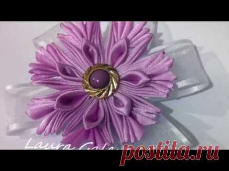 Flor fantasia en cintas tutorial