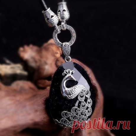 925 Silver Peacock Inlay Pendant / Blue Sandstone Gemstone Cut Pendant / Fashion Blue Sandstone Sweater Necklace / Gift for Wife Product Details:  Material: 925 silver, blue sand stone  color: blue  Shape: oval  Size: length: 57, width: 32mm.  Weight: 34.8 g  Translucent: translucent  Symbol: Good luck to you