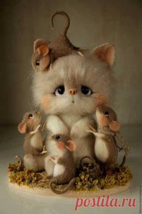 Купить Черничная компания. Игрушка из войлока. - комбинированный, мышки из шерсти, игрушка из нерсти, игрушка мышь