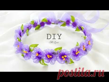 FLOWERS FROM THE ORGANZA \/ WREATH FROM FLOWERS, MK \/ DIY ORGANZA FLOWERS CROWN