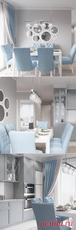 Сочетание серого и голубого цвета на кухне | Интерьер и декор