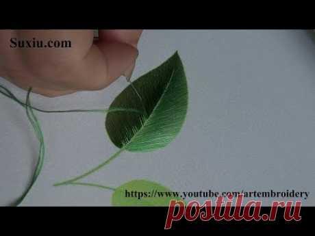 Leaf Embroidery for beginner(19)苏绣(中国苏州刺绣)Ricami Art broderie 葉 初心者に刺繍ししゅう