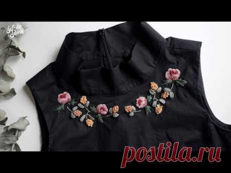 SUB CC] Вышиваю цветы на моей старой блузке