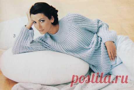 Интересный пуловер спицами - модель из журнала 1994 г. | Узоры и модели для вязания | Яндекс Дзен