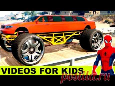RED MONSTER TRUCK LIMOUSINE for Kids in Spiderman Cartoon for Children with Nursery Rhymes Songs