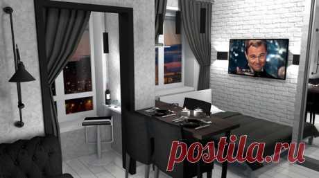 Квартира-студия, проект спальни-гостиной