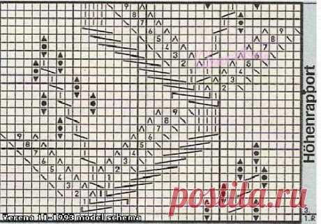 Узор веточка с листьями спицами Схема | Ажурные Узоры