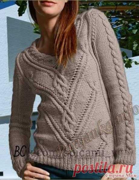 Пуловер спицами и жакет крючком с описанием и схемами