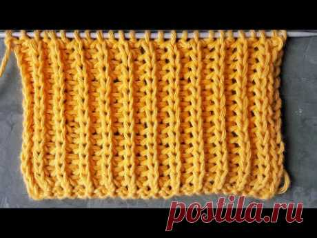 Полупатентная резинка спицами для начинающих / Узор для вязания свитеров, кардиганов, шапок