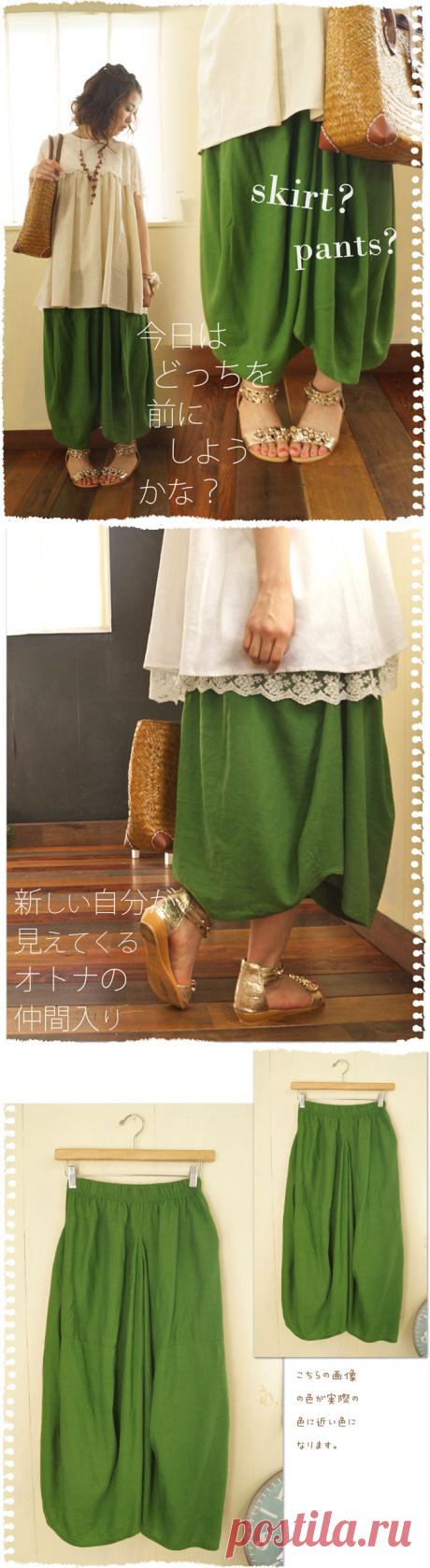 Японская юбка бохо. Зелёная.