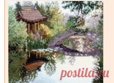 Беседка у пруда - Пейзажи, Постройки - Флора - СХЕМЫ - ВЫШИВКА КРЕСТОМ