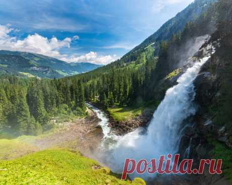 Картинки природа, водопад, альпы, лес - обои 1280x1024, картинка №415495