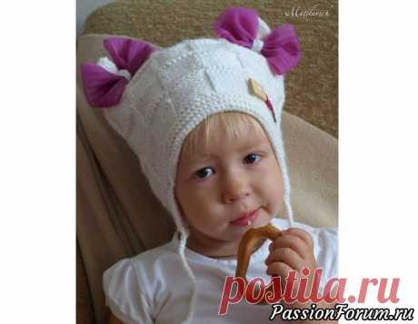 Шапка с бантиками | Вязание спицами для детей Еще одна находка для маленькой принцессы. Делюсь