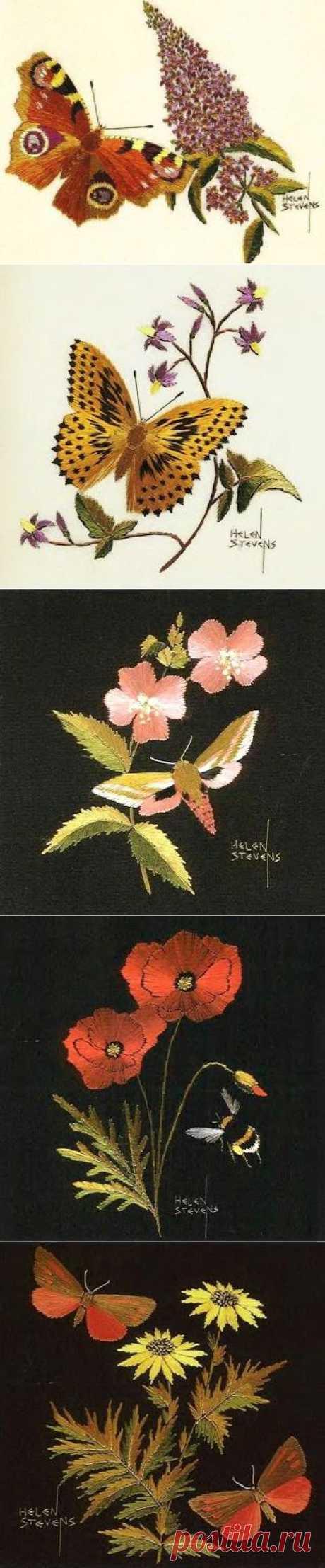 Великолепная гладь от Helen M. Stevens (ч.2): цветы, бабочки и шмели