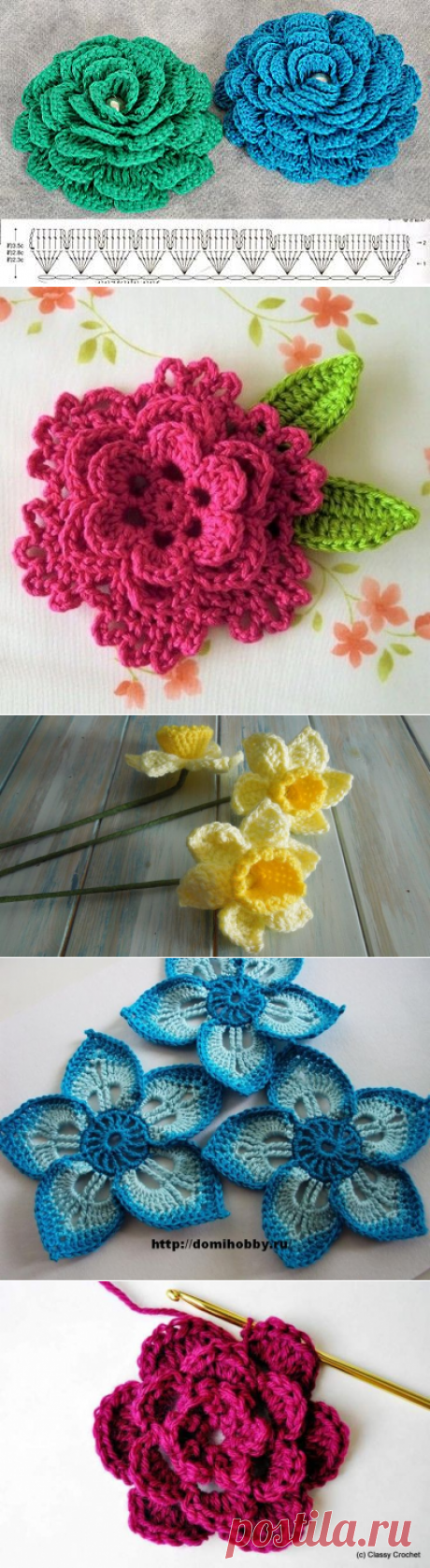 Crochet flowers and leaves - Picmia