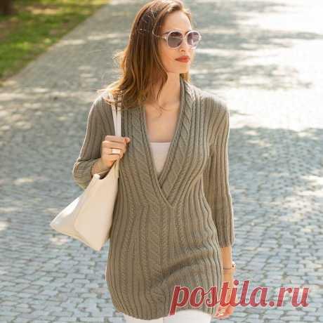 Элегантный удлиненный пуловер или туника, платье спицами