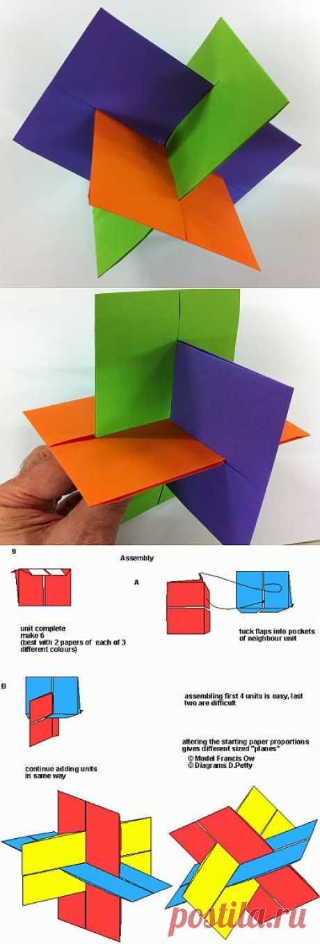 """Kusudama - """"Оригами XYZ"""" (la figura tridimensional). Es posible mostrar muy de un modo evidente al niño sobre tres planos."""