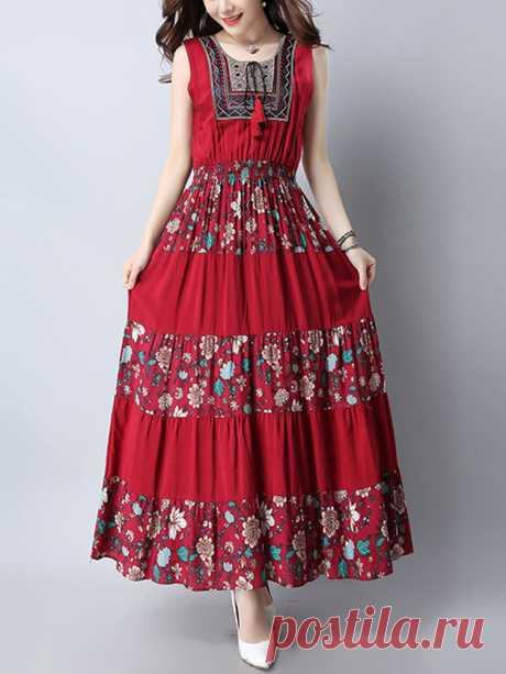 Богемия Этнические Цветочные Без Рукавов Полный Длина Платье Ваш друг поделился с вами модным сайтом и дает вам скидку до 20%! требуй это сейчас.