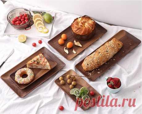 Прямоугольная Черная тарелка из орехового дерева, тарелка для фруктов, хлеба, деревянная тарелка соусник, чайный поднос, десертный ужин Блюдца и тарелки    АлиЭкспресс