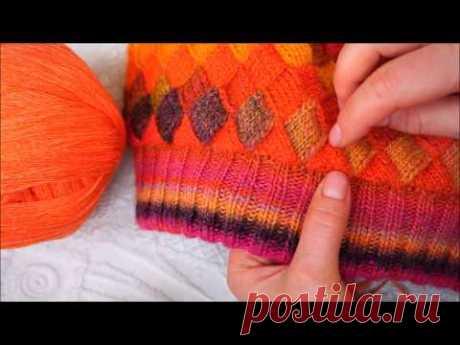 Шапка энтрелак. Часть 2 . Knitting had entrelak Part2