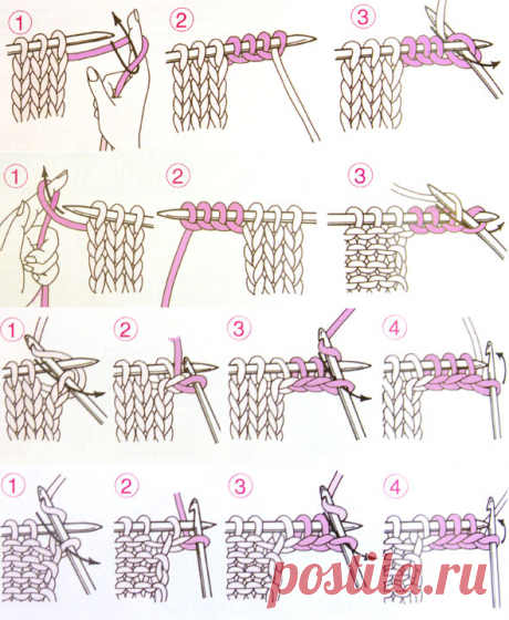 Прибавление нескольких петель по краю изделия| каталог вязаных спицами узоров