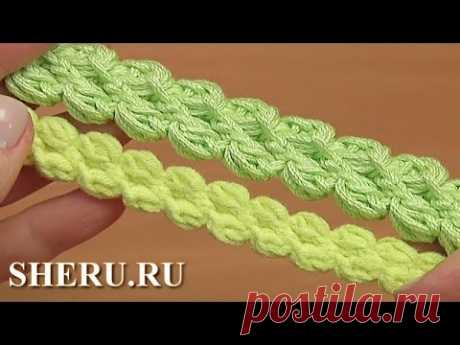 El cordón gusenichka de los postes pomposos y los nudos aéreos la Lección 103 3D Crochet Cord