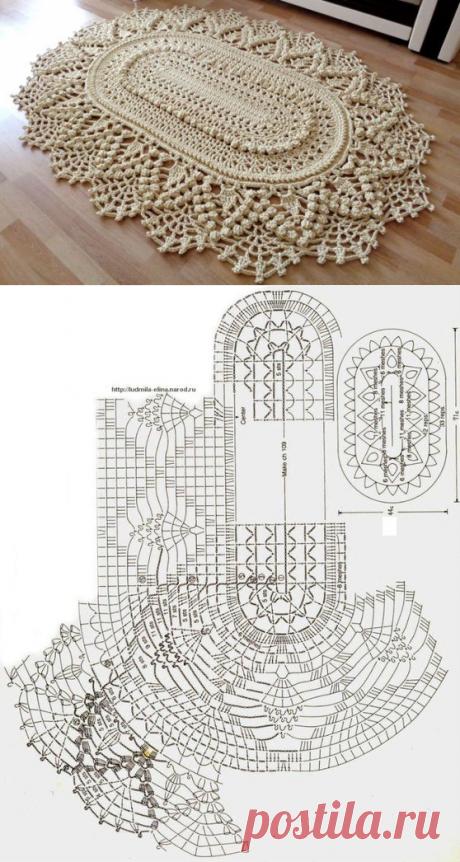 Вязаный коврик с объемными элементами. Схема