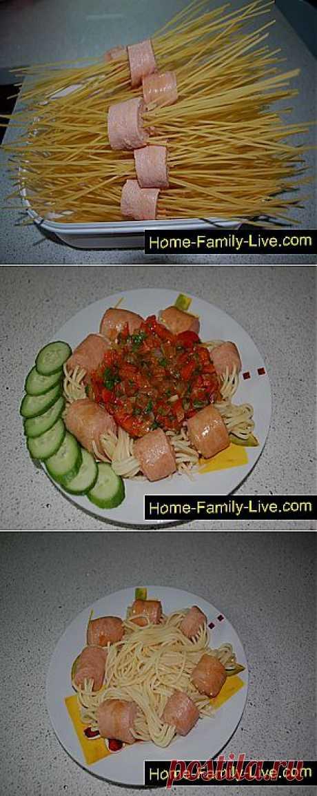 Кулинарные рецепты Спагетти с сосисками