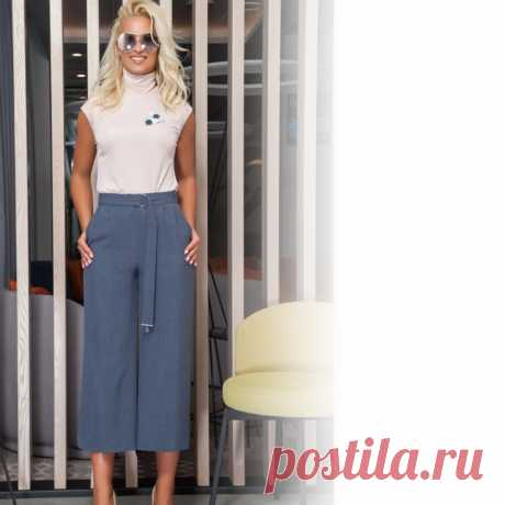 Комплект женский состоящий из джемпера без рукава из тонкого трикотажного полотка и брюк-кюлот.