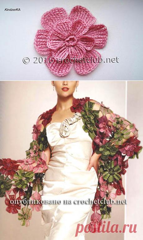 Мастер-класс цветка из журнала Alize - Вязание Крючком. Блог Настика
