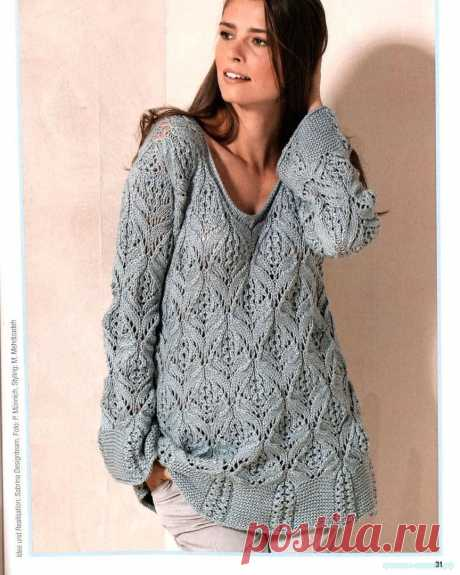 Вяжем классный пуловер спицами Как связать пуловер спицами. Вяжем спицами женскую кофту. Схема вязания кофты спицами