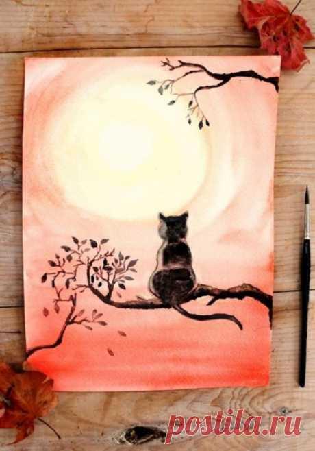 Чёрный кот акварелью — DIYIdeas