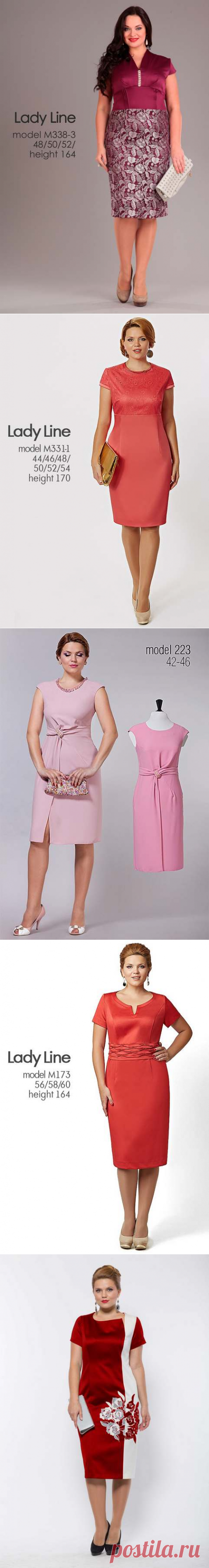 Платья и костюмы для полных женщин белорусской фирмы Lady Line, весна-лето 2016