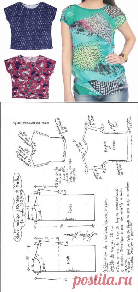Блуза со спущенным рукавом. Выкройка на евро размеры 36-56