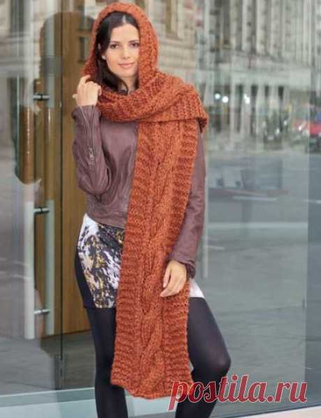 Капюшон-шарф. Идея модного головного убора (Вязание спицами) — Журнал Вдохновение Рукодельницы