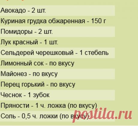 Рецепт: Салат с авокадо и куриной грудкой на RussianFood.com