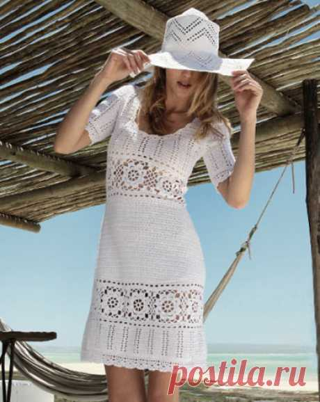 Вязание крючком летнего платья в стиле Victoria's Secret - Колибри На фото мы видим прекрасное светлое платье в стиле Victoria's Secret. Также как и пляжное платье-са