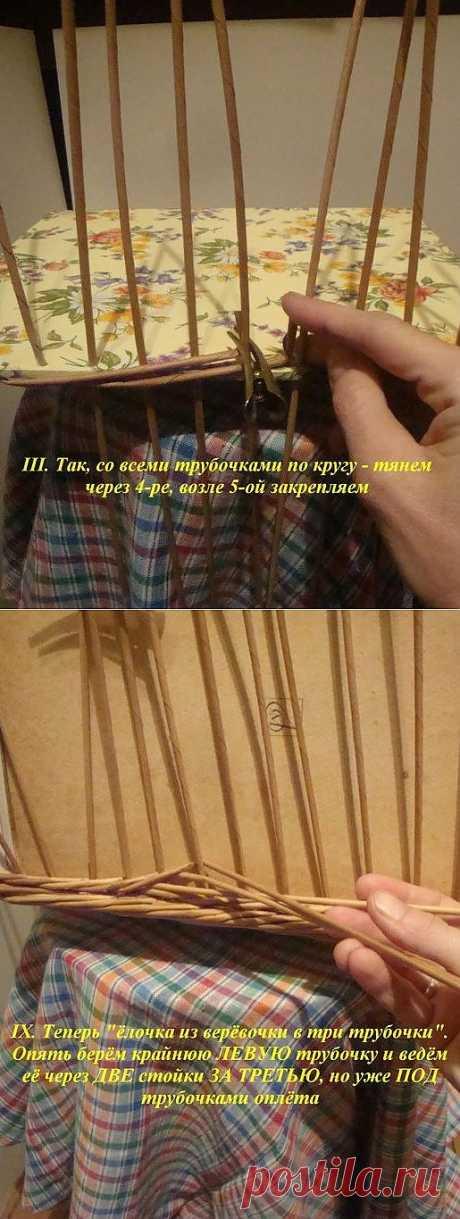 """МК плетение из газет """"плетение веревочки из трех трубочек""""."""