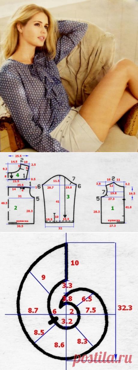 Легкая женская блуза с воланом | СЛИЯНИЕ СТИЛЕЙ