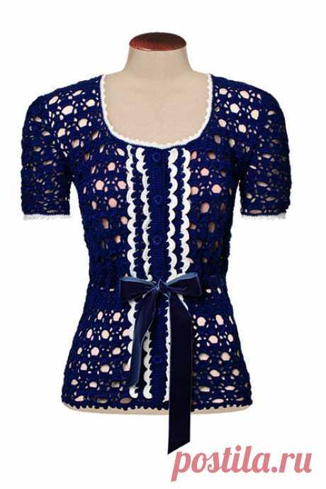 Изысканная блузка крючком со всеми схемами вязания, выкройкой и полным описанием