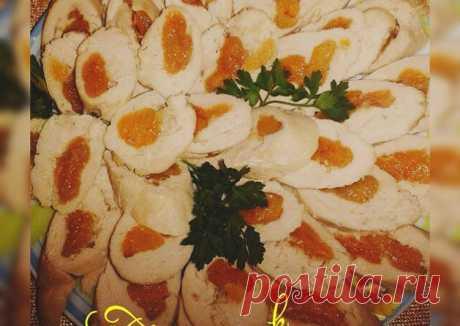 (8) Куриный рулет с курагой - пошаговый рецепт с фото. Автор рецепта Татьяна . - Cookpad