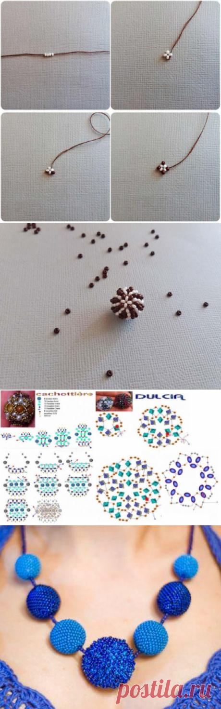 Оплетение бусины бисером ♥ Все известные техники | Domigolki.ru