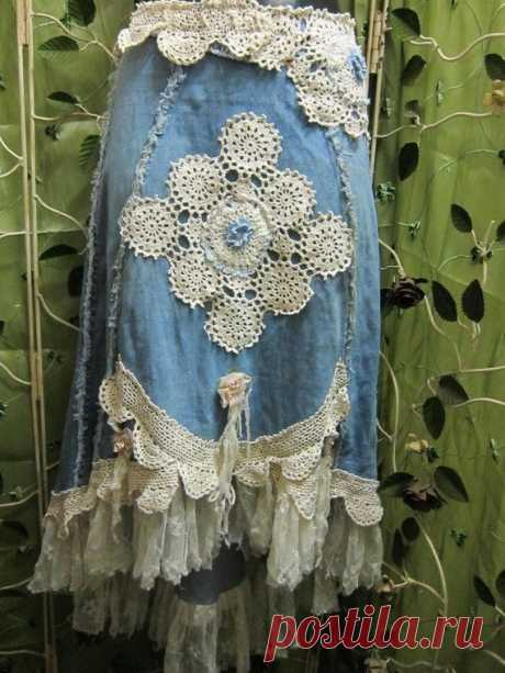 Sorry, reserved for lakita...bohemian denim and lace skirt...upcycled and unique