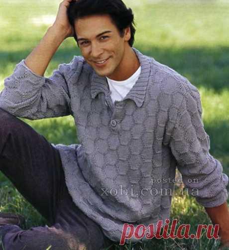 мужской пуловер с вырезом поло