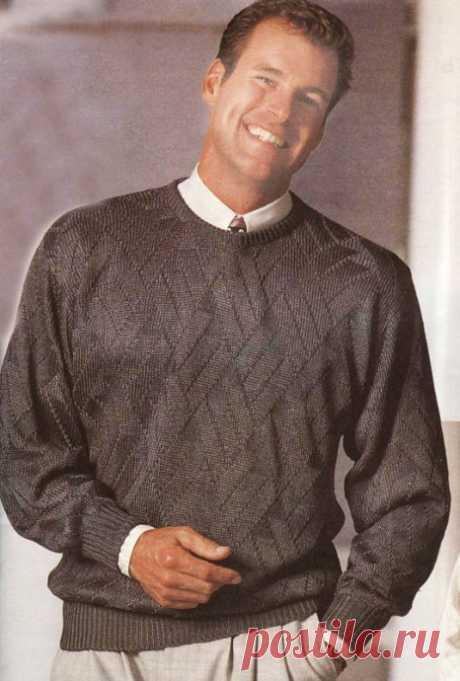 Вяжем сдержанный мужской пуловер из категории Интересные идеи – Вязаные идеи, идеи для вязания