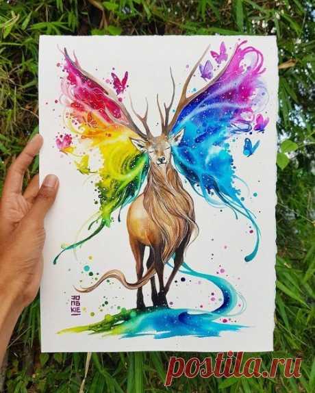 Очень красивые акварельные иллюстрации индонезийского художника Jongkie
